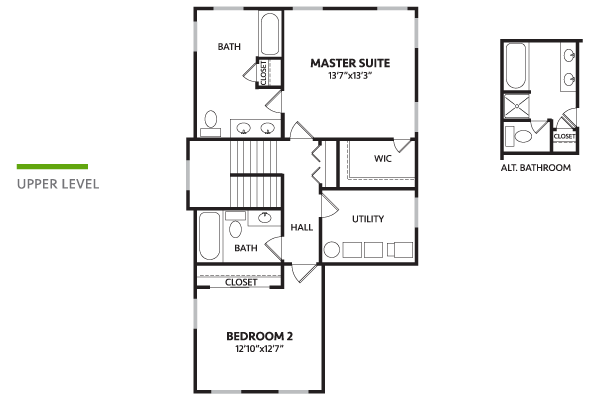 1628 carrolton second floor v2 davis homes for Davis homes floor plans